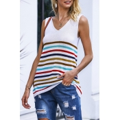 Lovely V Neck Sleeveless Striped White Sweaters
