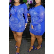 Lovely Sexy See-through Patchwork Blue Mini Plus S