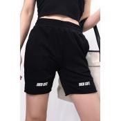 Lovely Sportswear Printed Patchwork Black Shorts
