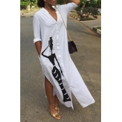 Lovely Casual Printed Slit White Ankle Length Dress
