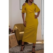 Lovely Casual V Neck Hollow-out Yellow Mid Calf Dr