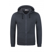 Lovely Casual Hooded Collar Zipper Design Deep Gre