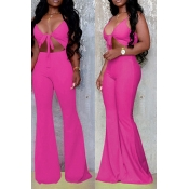 Lovely Sexy Hollow-out Rose Red One-piece Jumpsuit