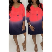 Lovely Casual Color-lump Patchwork Red Mini Dress