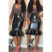 Lovely Chic Flounce Design Black Knee Length Skirt