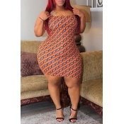 Lovely Casual Printed Caramel Color Mini Plus Size