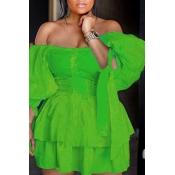 Lovely Chic Dew Shoulder Cascading Ruffle Design Green Mini Cake Dress