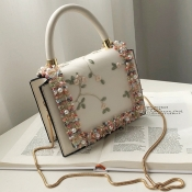 Lovely Fashion Patchwork White PU Crossbody Bag