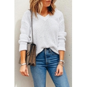 Lovely V Neck Hollow-out White Sweaters