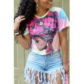 Lovely Casual Portrait Printed Multicolor T-shirt