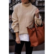 Lovely Patchwork Light Camel Sweater