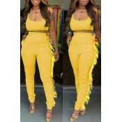 Lovely Casual U Neck Tassel Design Yellow Two-piece Pants Set