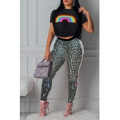 Lovely Leisure Sequined Decorative Black Two-piece