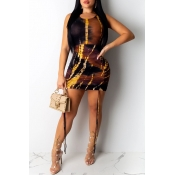 Lovely Casual O Neck Printed Brown Mini Dress