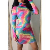Lovely Casual Turtleneck Printed Multicolor Mini D