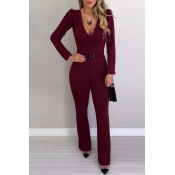 Lovely Temperament V Neck Wine Red One-Piece Jumps