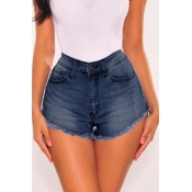 Lovely Casual Raw Edge Blue Shorts