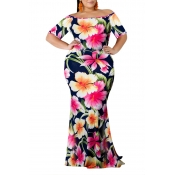 Lovely Casual Floral Printed Pink Floor Length Dre