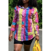 Lovely Casual Turndown Collar Printed Multicolor B