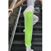 Lovely Sportswear Patchwork White Pants