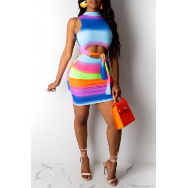 Lovely Sexy Printed Backless Multicolor Mini Dress