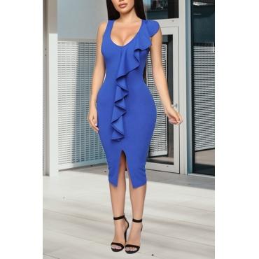 Lovely Stylish U Neck Ruffle Patchwork Blue Mid Calf OL Dress