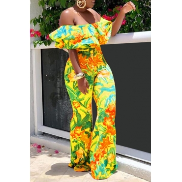Lovely Stylish Off The Shoulder Printed Yellow One-piece Jumpsuit