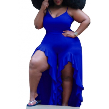 Lovely Sexy V Neck Asymmetrical Blue Plus Size One-piece Jumpsuit