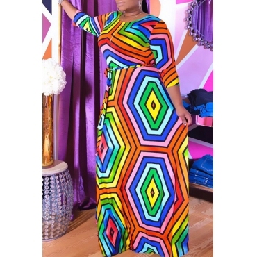 Lovely Casual O Neck Geometric Printed Multicolor Floor Length A Line Plus Size Dress