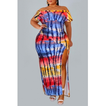 Lovely Casual Off The Shoulder Printed Side Split Multicolor Ankle Length Plus Size Dress