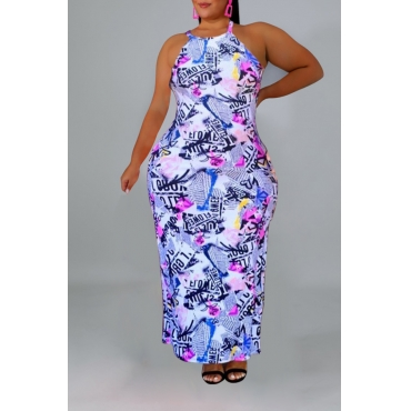 Lovely Casual Letter Printed White Ankle Length Plus Size Dress