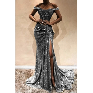 Lovely Elegant Off The Shoulder Sequins Decoration Silver Floor Length Prom Dress