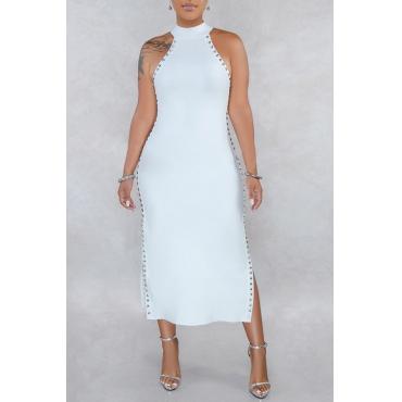 Lovely Stylish O Neck Rivet Decoration White Mid Calf OL Dress