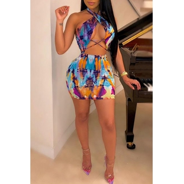 Lovely Sexy Halter Neck Printed Backless Multicolor Mini Dress