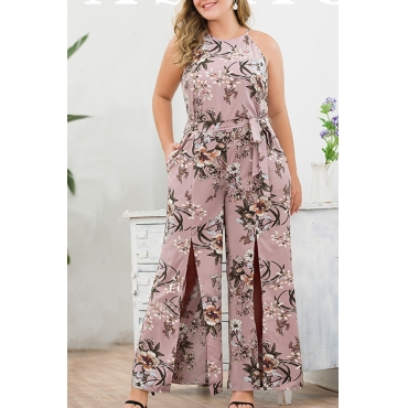 Lovely Bohemian O Neck Printed Pink Plus Size One-piece Jumpsuit