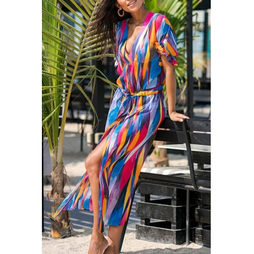 Lovely Stylish Printed Multicolor Chiffon Cover-up