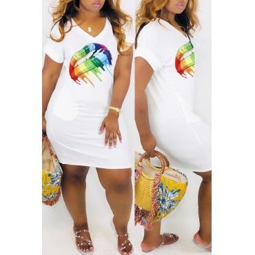 Lovely Casual V Neck Printed White Mini Dress