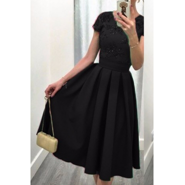 Lovely Elegant O Neck Backless Black Knee Length A Line Prom Dress