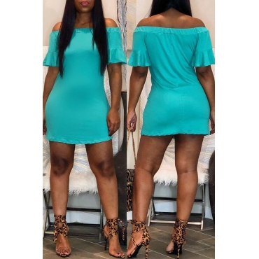 Lovely Casual Off The Shoulder Baby Blue Mini Dress