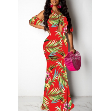 Lovely Sexy Halter Neck Printed Hollow-out Red Floor Length Prom Dress