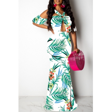 Lovely Sexy Halter Neck Printed Hollow-out White Floor Length Prom Dress