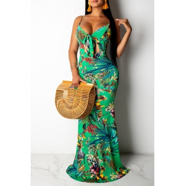 Lovely Sexy Spaghetti Straps Printed Hollow-out Green Floor Length Prom Dress