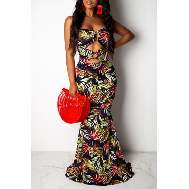Lovely Sexy Off The Shoulder Printed Hollow-out Dark Blue Floor Length Prom Dress
