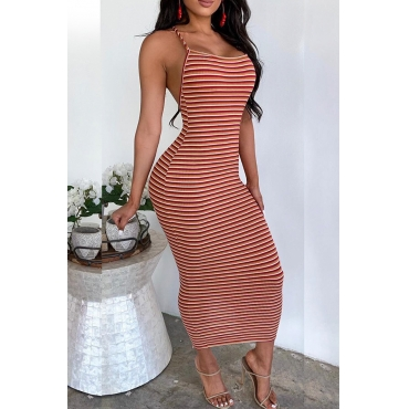 Lovely Sexy Spaghetti Straps Striped Backless Multicolor Ankle Length Dress