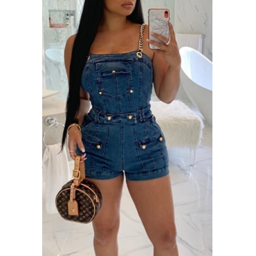 Lovely Sexy Spaghetti Straps Rivet Decoration Blue One-piece Romper