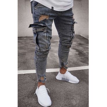 Lovely Casual Pockets Design Grey Jeans