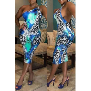 Lovely Sexy Printed Backless Baby Blue Mid Calf Dress