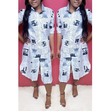Lovely Stylish Letter Printed White Mid Calf A Line Dress