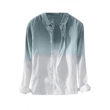 Lovely Casual Turndown Collar Gradual Patchwork Blue Shirt