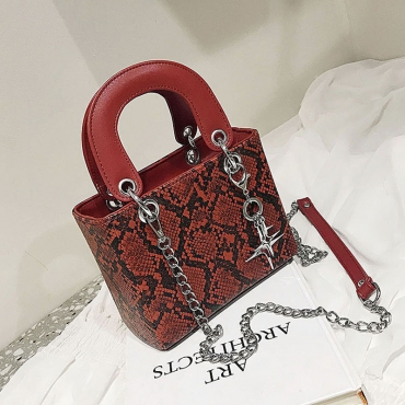 Lovely Stylish Snakeskin Pattern Printed Red PU Crossbody Bag